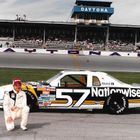 Jody Ridley poses with his Ford Thunderbird prior to the 1986 Daytona 500