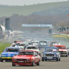 Group 1 Saloons turn into the first corner at Goodwood