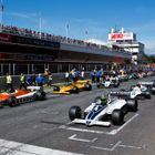 Masters Historic F1 cars line on the grid at Barcelona