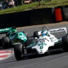 Nick Padmore (Williams FW07C) leads Martin Stretton (Tyrrell 012)
