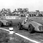 Villoresi (winner) and Ascari at the 1948 British Grand Prix. Credit SHL/BRDC