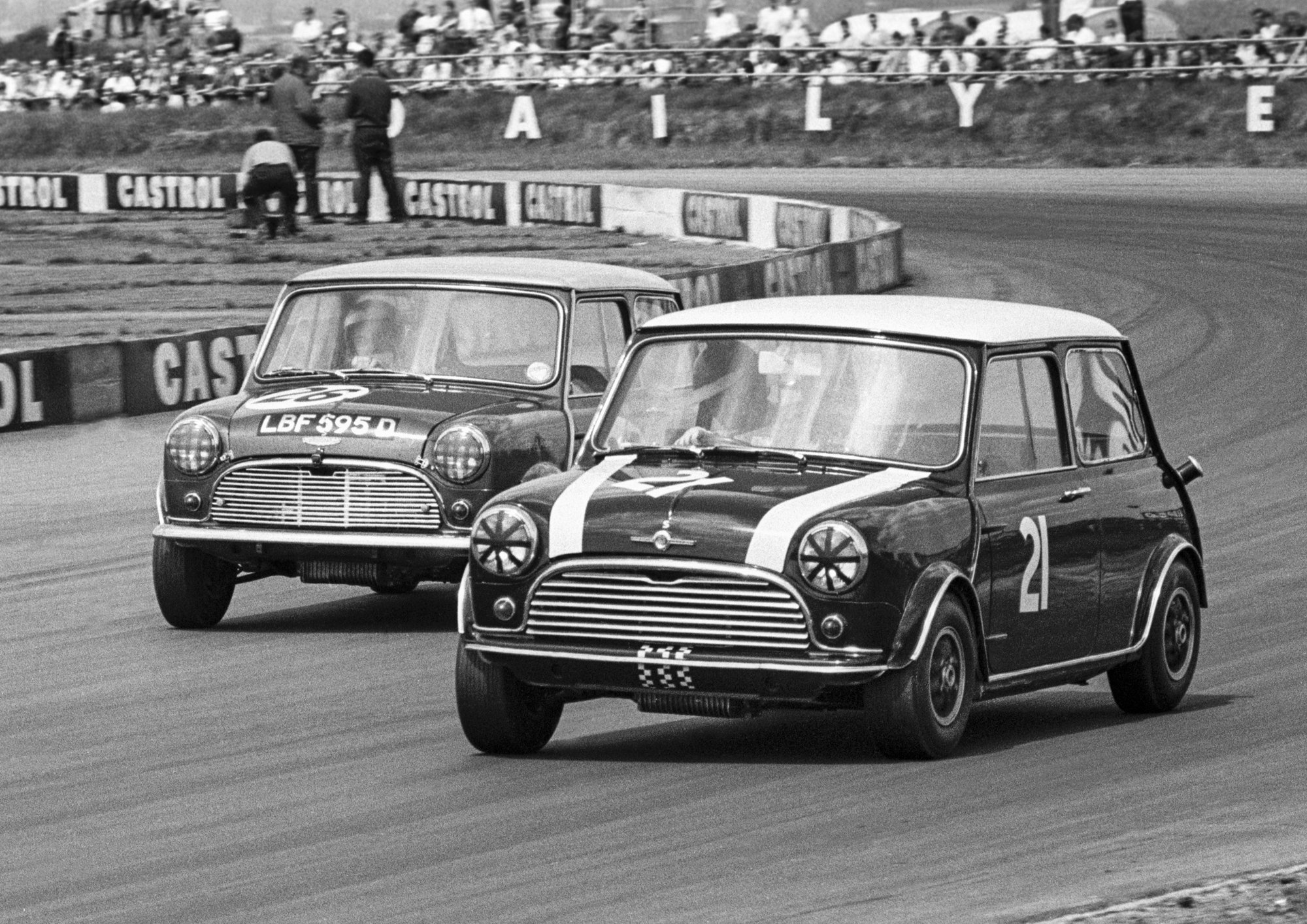 Minis at Silverstone in the 1960s