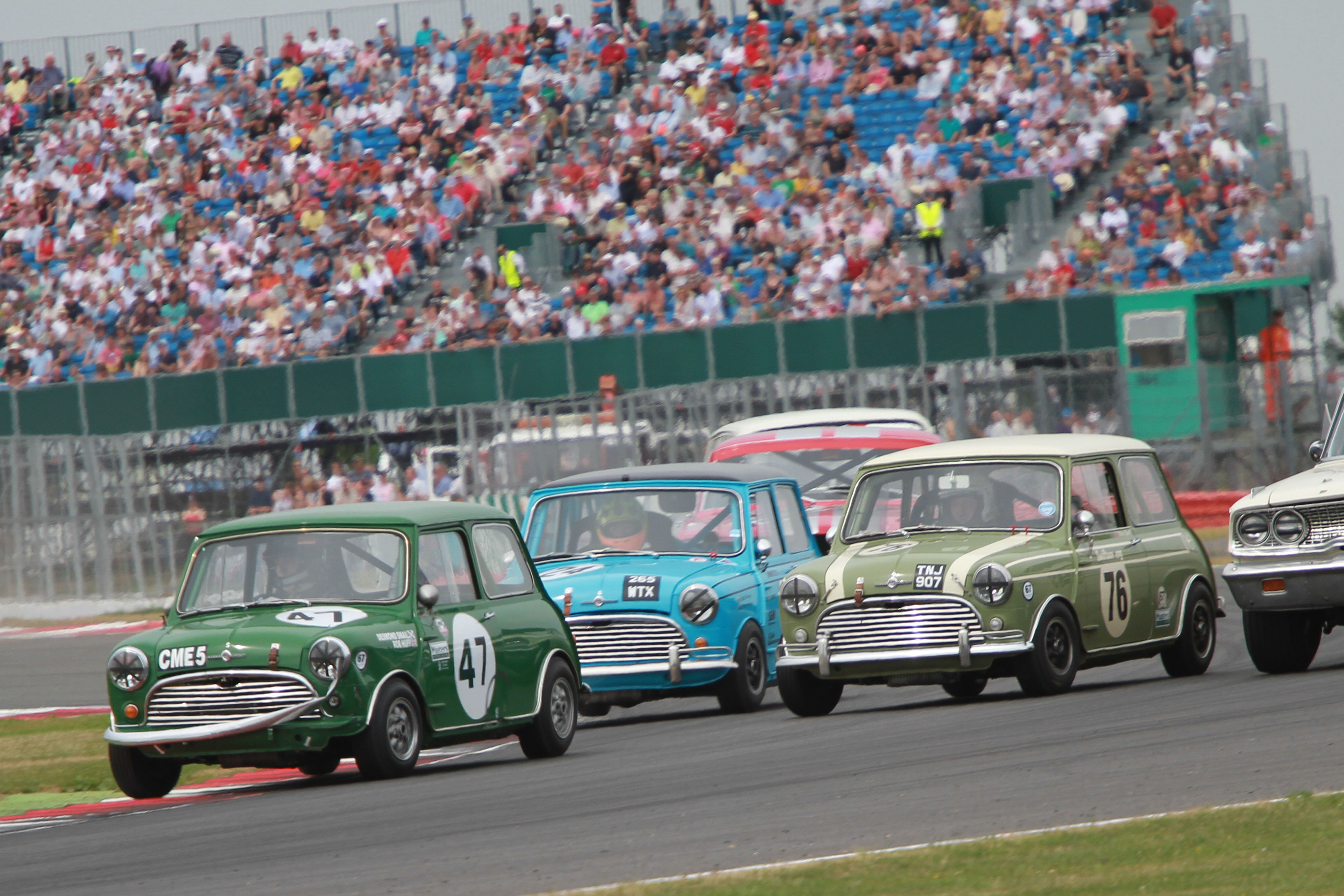 MInis Racing at the Silverstone Classic
