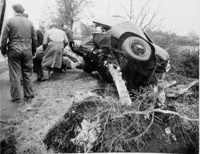 The Wreckage of Mike Hawthorn's Jaguar