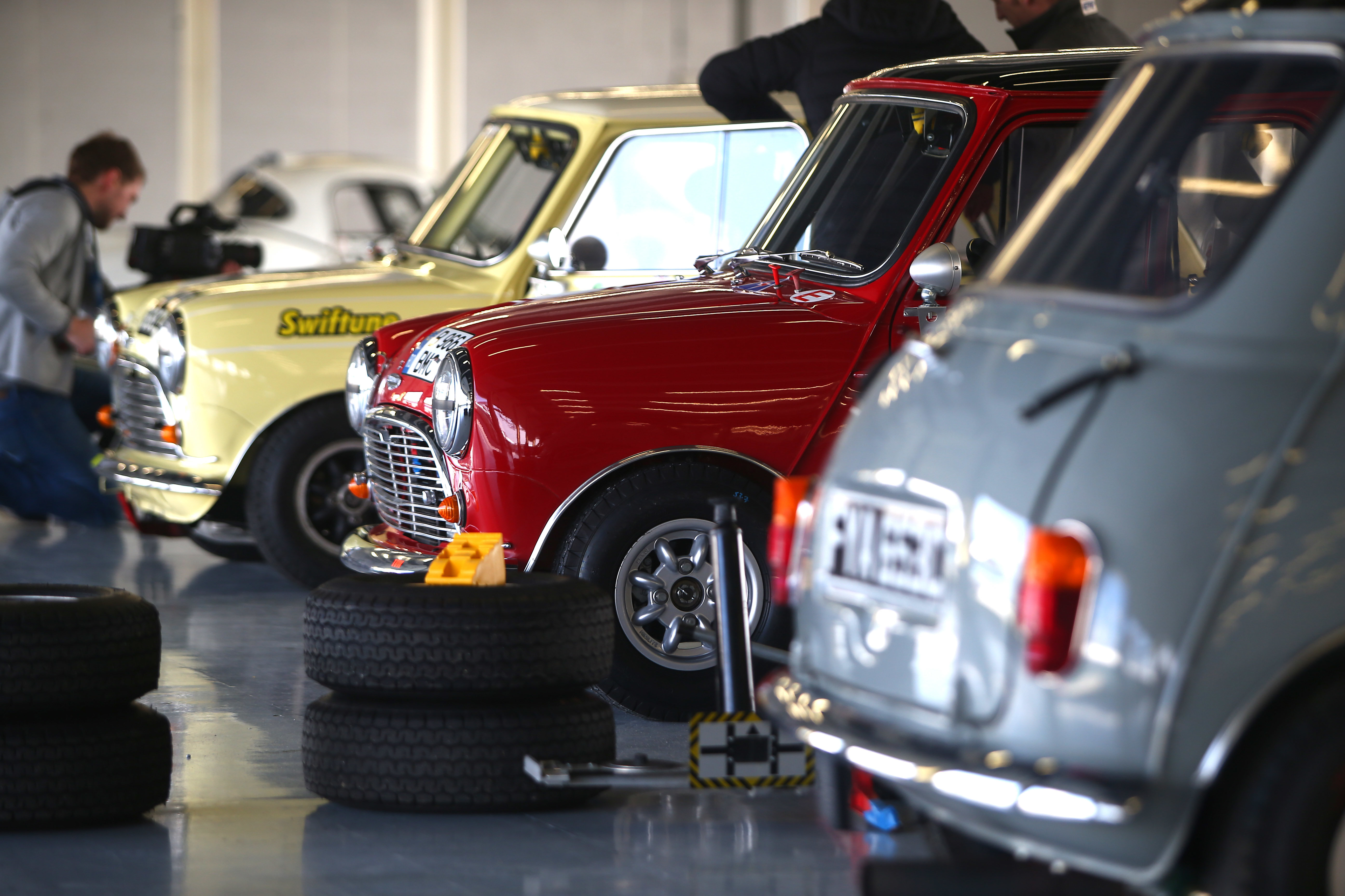 Silverstone Classic - Minis in Garage