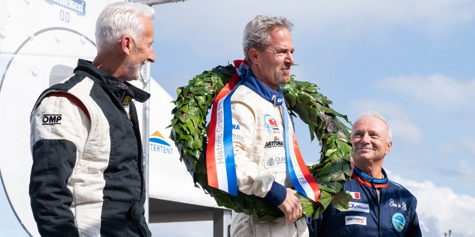 Velerio Leone on the top step of the podium