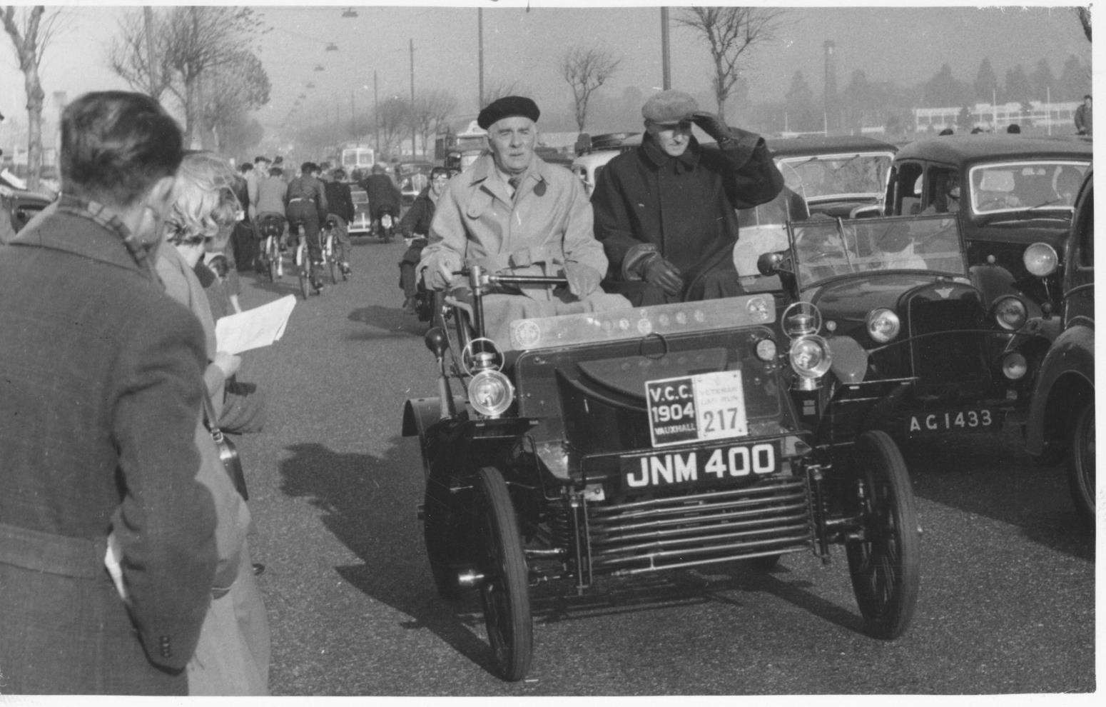 Vauxhall's Percy Kidner in 6HP during London to Brighton circa 1950